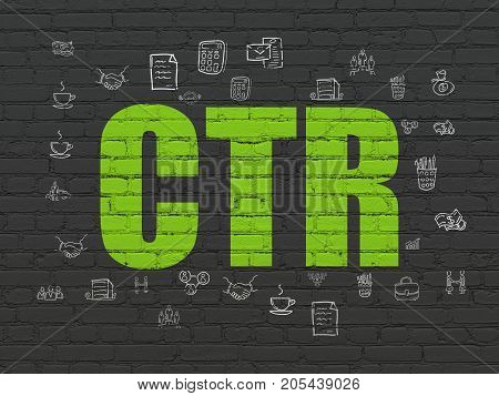 Finance concept: Painted green text CTR on Black Brick wall background with  Hand Drawn Business Icons