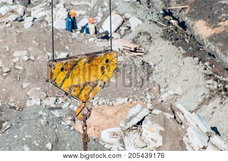 Crane Hook On The Background Of Building Dirt Land