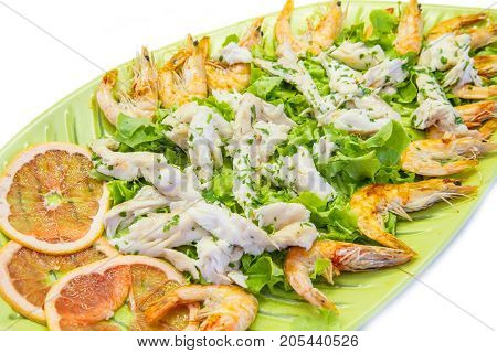 fish starter with cod fillets and shrimp