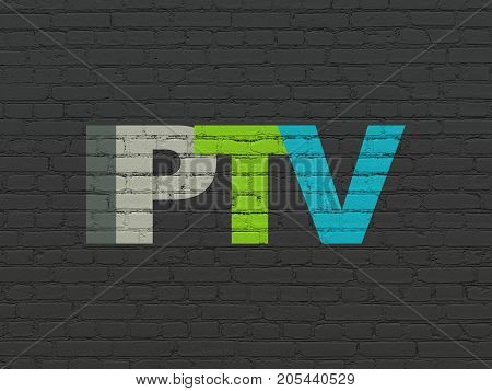 Web design concept: Painted multicolor text IPTV on Black Brick wall background
