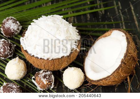 Coconut Dessert In A Natural Shell As Bowl