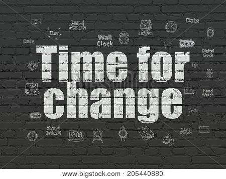 Time concept: Painted white text Time for Change on Black Brick wall background with  Hand Drawing Time Icons