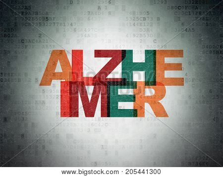 Health concept: Painted multicolor text Alzheimer on Digital Data Paper background
