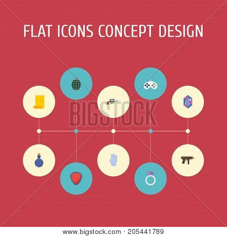 Flat Icons Protection, Revolver, Dynamite And Other Vector Elements