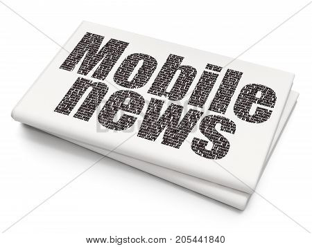 News concept: Pixelated black text Mobile News on Blank Newspaper background, 3D rendering
