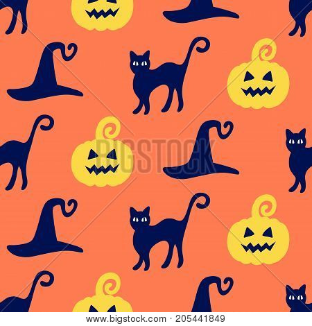 Halloween seamless pattern with hand drawn pumpkins, witch hats and cats doodles. Vector illustration for wrapping paper, textile.