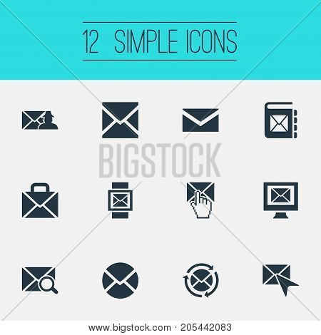 Elements Portfolio, Specter, Writing And Other Synonyms Support, Pick And Parcel.  Vector Illustration Set Of Simple Communication Icons.