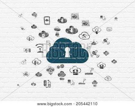 Cloud technology concept: Painted blue Cloud With Keyhole icon on White Brick wall background with  Hand Drawn Cloud Technology Icons