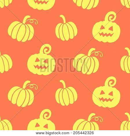 Halloween seamless pattern with hand drawn scary pumpkins doodles. Vector illustration for wrapping paper, textile.