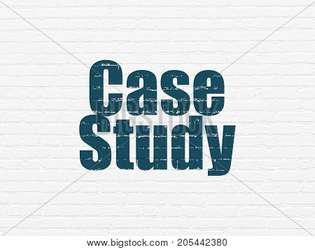Learning concept: Painted blue text Case Study on White Brick wall background