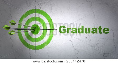Success Studying concept: arrows hitting the center of target, Green Graduate on wall background, 3D rendering
