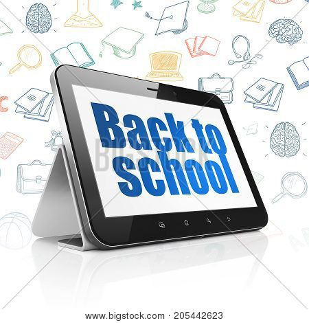 Studying concept: Tablet Computer with  blue text Back to School on display,  Hand Drawn Education Icons background, 3D rendering