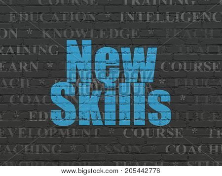 Education concept: Painted blue text New Skills on Black Brick wall background with  Tag Cloud