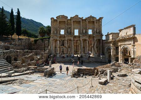 EPHESUS, TURKEY - AUGUST 16, 2017: Celsus Library in Ephesus ancient city, Selcuk, Turkey.
