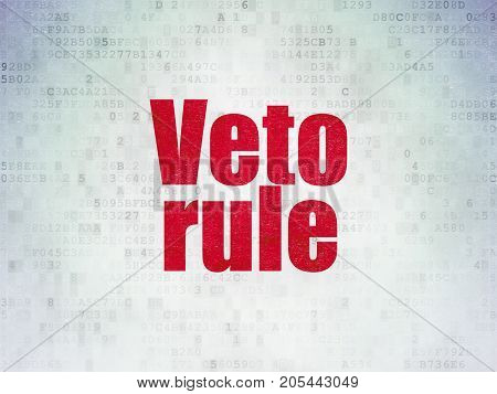 Political concept: Painted red word Veto Rule on Digital Data Paper background