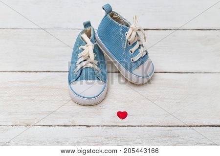 Kids shoes for a little boy with heart