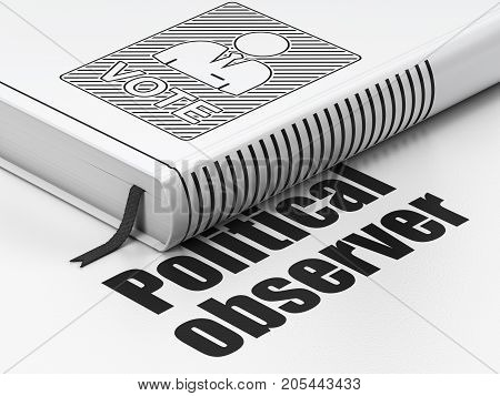Politics concept: closed book with Black Ballot icon and text Political Observer on floor, white background, 3D rendering