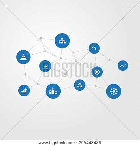 Elements Data, Relation, Unit And Other Synonyms Structure, Relation And Chart.  Vector Illustration Set Of Simple Graph Icons.