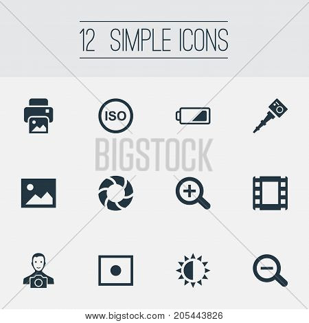 Elements Rustication, Registration, Film Strip And Other Synonyms Illuminance, Portable And Registration.  Vector Illustration Set Of Simple Photograph Icons.