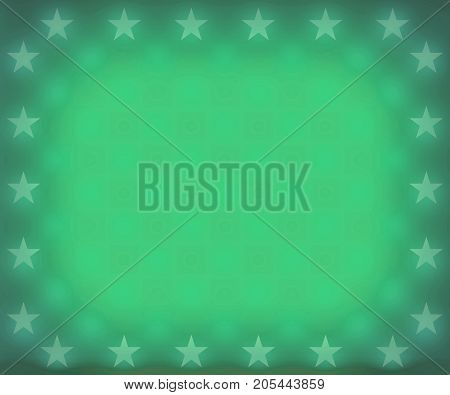 A faded green stars border frame background