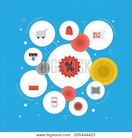 Flat Icons Purchase, Trolley, Buy Now And Other Vector Elements