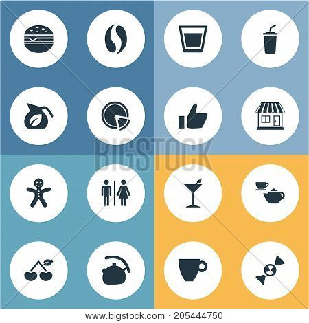 Elements Smoothie, Martini, Cafe And Other Synonyms Cherry, Martini And Kettle.  Vector Illustration Set Of Simple Beverage Icons.
