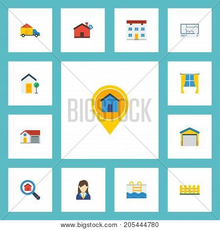 Flat Icons Magnifier, Woman Realtor, Hypothec And Other Vector Elements