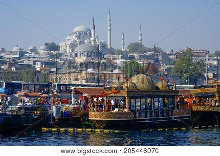 Istanbul Turkey- September 18 2017: View of the ancient part of Istanbul photographed by the Golden Horn with the famous Suleymaniye Camii (Mosque)e