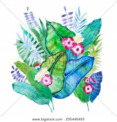 Hand-drawn aquarelle composition of tropical leaves and flowers isolated on white background.