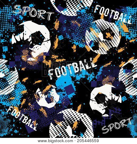 Abstract football seamless pattern for boys. Football pattern. Grunge urban pattern with football ball. Sport wallpaper on black background with multicolor spots. Repeated sport football pattern.