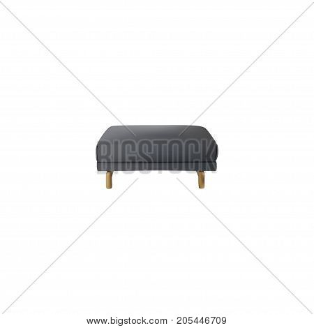 Realistic Pouf Element. Vector Illustration Of Realistic Footstool Isolated On Clean Background