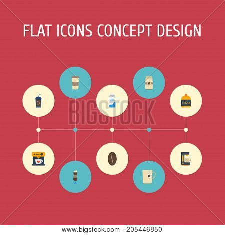 Flat Icons Mocha, Beverage, Sweetener And Other Vector Elements