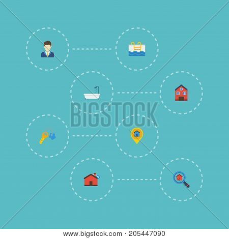 Flat Icons Hypothec, Pin, Magnifier And Other Vector Elements