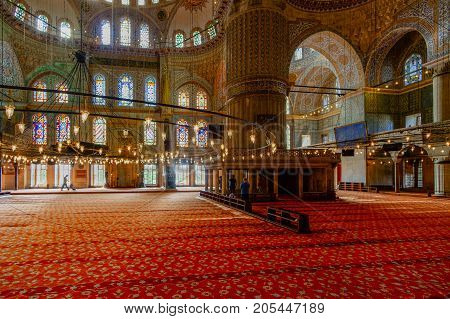 Istanbul Turkey- September 19 2017: Interior view of Istanbul's famous blue mosque with gold ornaments