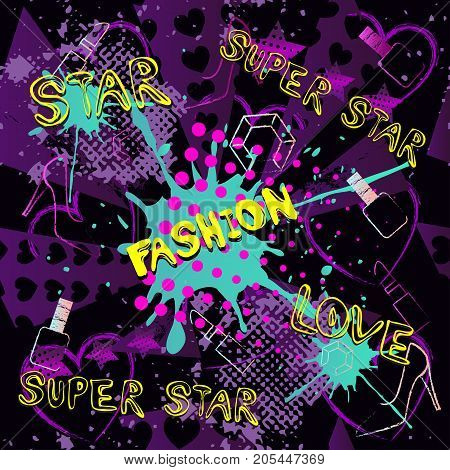 Abstract Seamless Pattern For Girls, Boys, Clothes. Creative Vector Background With Dots, Pomade, Sh