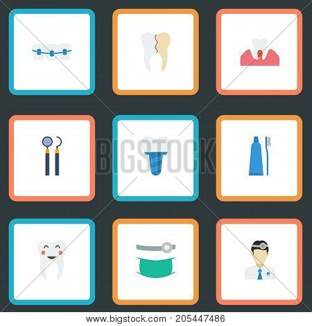 Flat Icons Enamel, Treatment, Orthodontist And Other Vector Elements