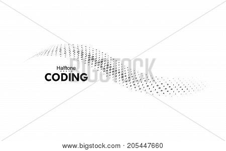 Streaming binary code. Vector halftone shape. Coding, programming logo. Hacking, phishing or software security concept. Computer science illustration with one and zero symbols repetitions.