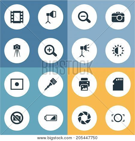 Elements Movable Camcorder, Inkjet, Registration And Other Synonyms Camera, Zoom And Memory.  Vector Illustration Set Of Simple Photography Icons.