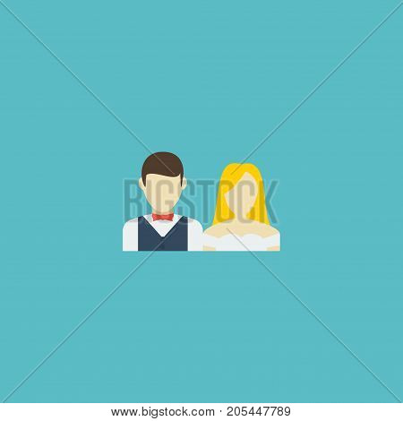 Flat Icon Just Married Element. Vector Illustration Of Flat Icon Couple Isolated On Clean Background
