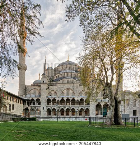 Exterior day shot of Sultan Ahmed Mosque (Blue Mosque) an Ottoman imperial mosque located in Sultan Ahmed Square Istanbul Turkey