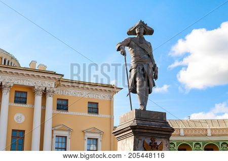 PAVLOVSK ST PETERSBURG RUSSIA - SEPTEMBER 21 2017. Monument to emperor Paul I in front of Pavlovsk Palace - summer palace of emperor in Pavlovsk St Petersburg Russia
