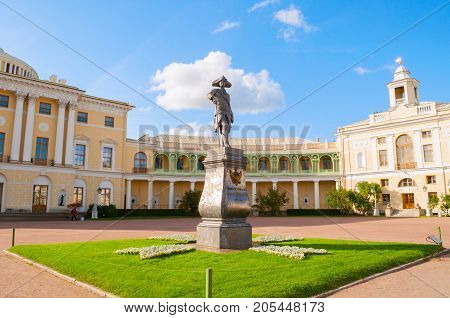 PAVLOVSK ST PETERSBURG RUSSIA - SEPTEMBER 21 2017. Monument to emperor Paul I in front of Pavlovsk Palace summer palace of emperor in Pavlovsk St Petersburg region Russia