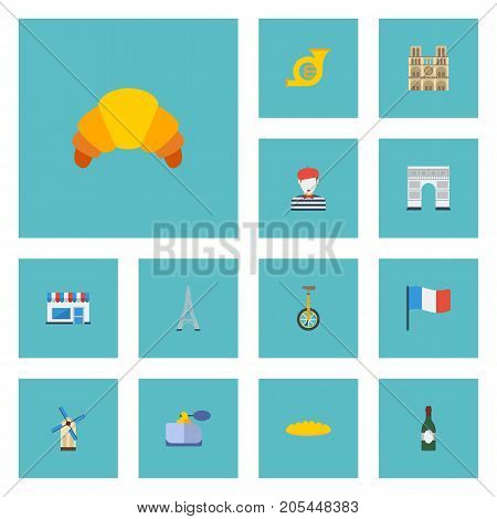 Flat Icons Alcohol, Pantomime, Flag And Other Vector Elements