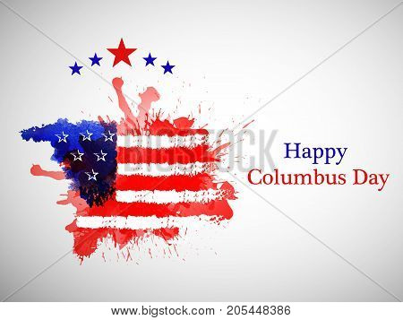 illustration of stars and US flag texture background with Happy Columbus Day text on the occasion of Columbus Day