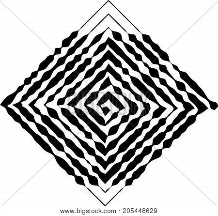 Square shape as a maze of uneven, changing the thickness of the lines. The element of design to create abstract layouts, covers, print on paper, fabric, wrap. Vector illustration