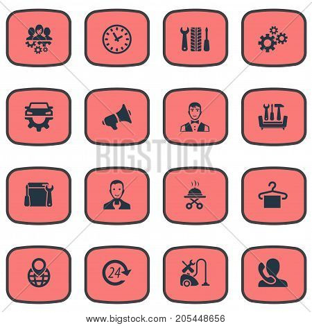 Elements Servant, Industry, Restaurant  Staff And Other Synonyms Engineer, Tool And Washing.  Vector Illustration Set Of Simple Information Icons.
