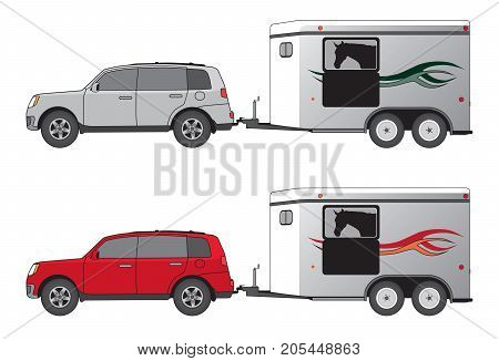 Horse trailer is being towed by SUV in two different color schemes