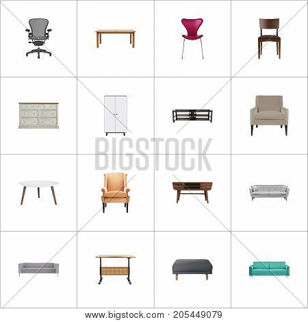 Realistic Chair, Sofa, Worktop And Other Vector Elements