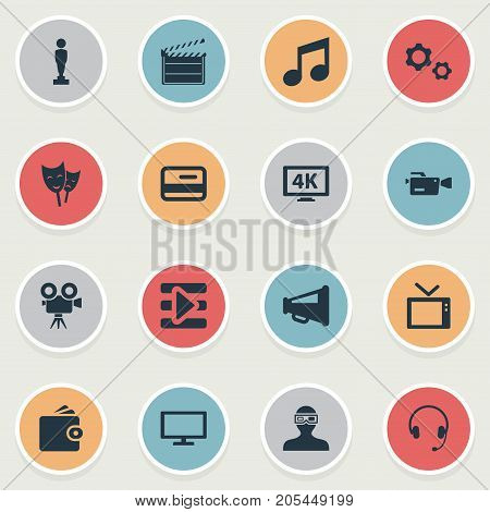 Elements Cogwheel, Play, High Resolution And Other Synonyms Award, Music And Director.  Vector Illustration Set Of Simple Movie Icons.
