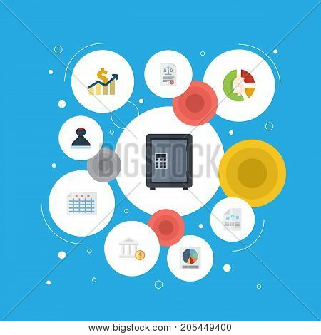 Flat Icons Safe, Sheet, Net Income And Other Vector Elements